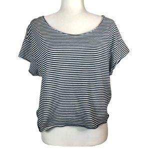Zara Trafaluc Navy/White Stripe Crop- M